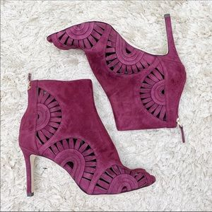 Tory Burch   Leyla Royal Suede Cut Out Ankle Boot